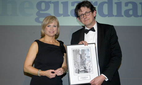 Press Awards 2011: Alan Rusbridger receives the newspaper of the year award from Anna Botting