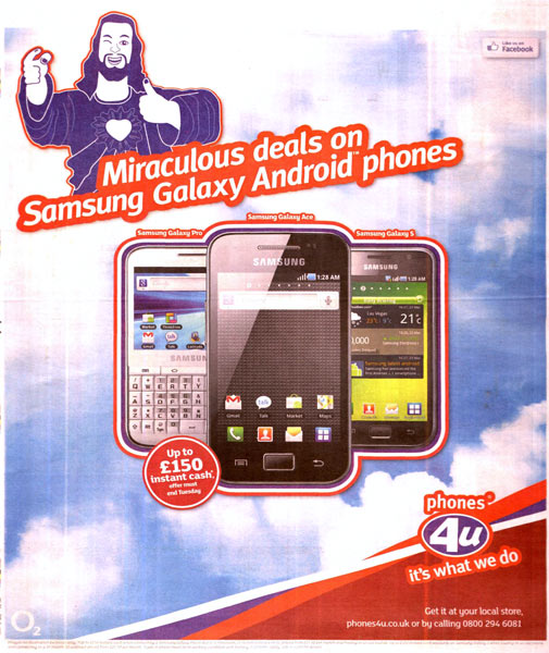Phones4U's 'Jesus' ad was banned by the ASA.