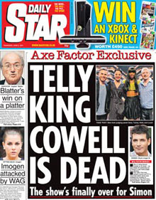 Daily Star: Simon Cowell headline