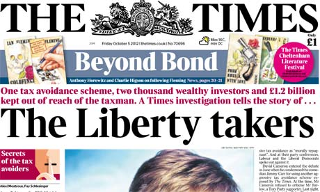 The Times - tax avoidance front page