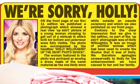 Sunday Sport apology to Holly Willoughby