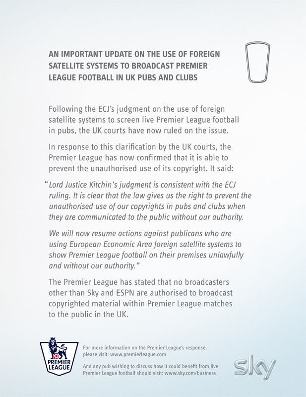 Premier League ad warning pubs over foreign set-top boxes (click for full image)
