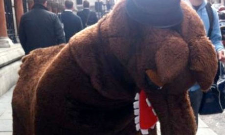 Pantomime horse at the Leveson inquiry