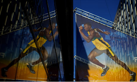 Olympics 2012: an Usain Bolt banner at Westfield Mall