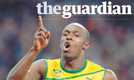 The Guardian - Usain Bolt front page