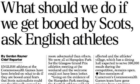 Daily Telegraph story on English athletes