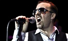 Ricky Gervais as David Brent on stage at the Bloomsbury Theat
