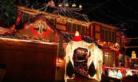 A house covered in festive Christmas lights in Bromley, Kent