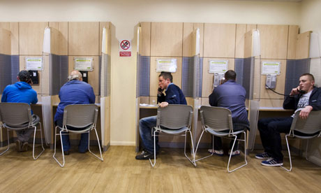 Unemployed men at a job centre
