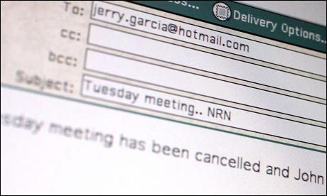 Computer screen showing email