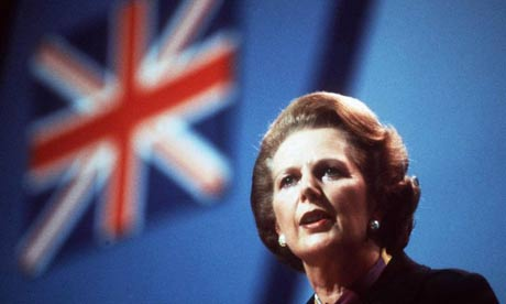 Margaret Thatcher and the Union Jack flag