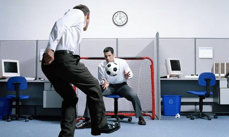 Playing football in the office