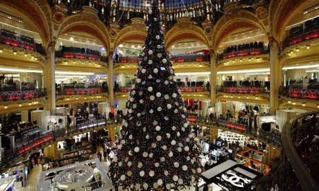 A Christmas tree in a department store in Paris
