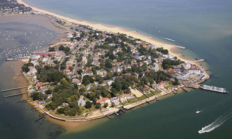 Sandbanks bay from the air