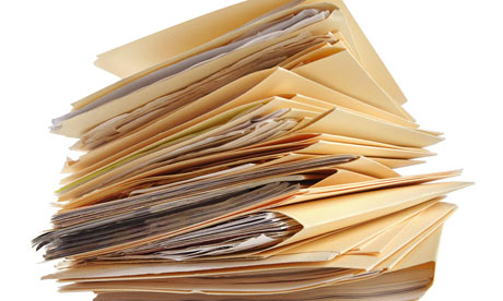 A stack of files