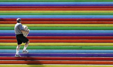 man-on-coloured-steps