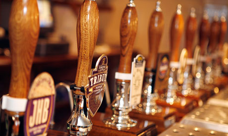 Beer pumps on the bar of the The Black Horse Pub in Leicestershire