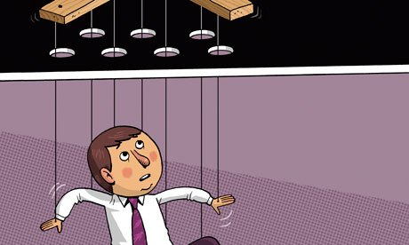 Illustration of an employeee being controlled from above
