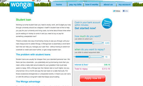 Wonga screengrab showing student loan offers
