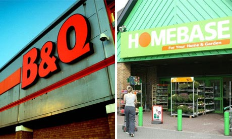 Shop fronts of B&Q and Homebase