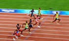 Usain Bolt on his way to winning the 2008 men's 100m final in Beijing