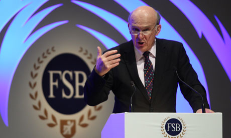 Business secretary Vince Cable at the Federation of Small Business Conference in Scarborough, UK