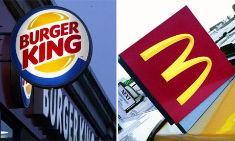 Shop fronts of Burger King and McDonald's