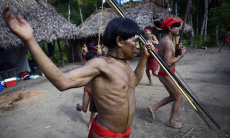 Yanomami natives perform a ritual danc