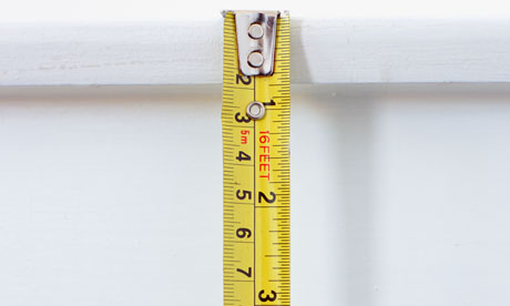 A tape measure being used