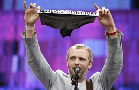 Fran Healy of the band Travis with a pair of Make Poverty History pants at the Live 8 concert in Hyde Park