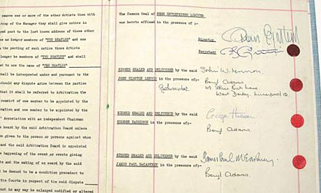 The Beatles' first fully signed contract with Brian Epstein