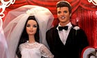 Elvis and Priscilla Presley Barbie dolls in wedding dress