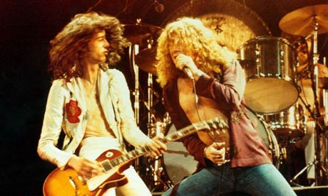 Jimmy Page and Robert Plant of Led Zeppelin on stage in 1976