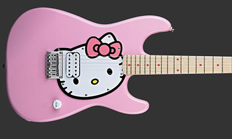 Hello Kitty guitar Tickled pink Hello Kitty's Fender-style guitar.