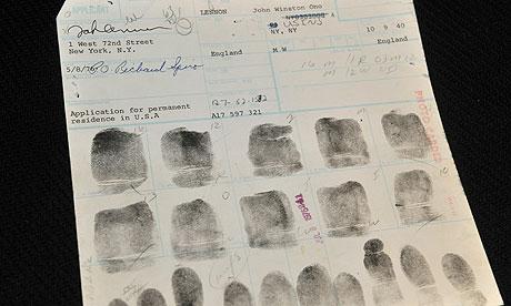John Lennon fingerprint card