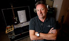 Peter Hook with Joy Division memorabilia