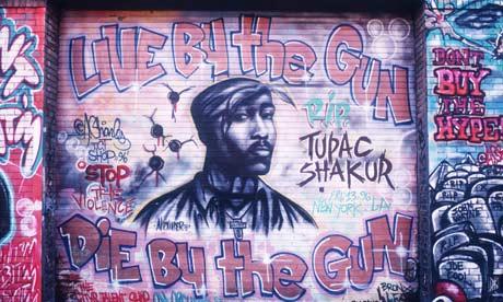 tupac and biggie beef. Graffiti honouring Tupac