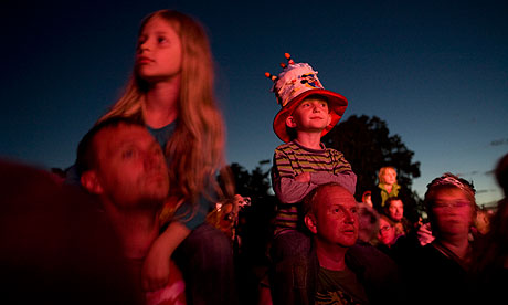Kids watching the Flaming Lips at festival