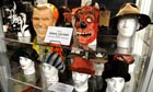Pearl Jam Destination Weekend memorabilia - Dubya and devil masks worn by Veddie on 2004 tour