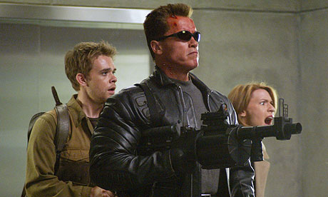 Claire Danes Terminator on Left  With Arnold Schwarzenegger And Claire Danes In Terminator 3