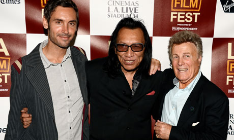 Director Malik Bendjelloul with Sixto Rodriguez and music producer Steve Rowland at the LA premiere of Searching for Sugarman. Photograph: Kevin Winter/Getty Images