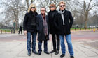 Bon Jovi pose in front of Hyde Park