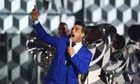 Robbie Williams performs during the 2013 Brit awards at the 02 arena in London on 20 February 2013.