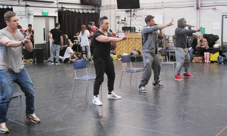 Back for good? … members of the boyband Blue rehearse for tonight's Hammersmith Apollo show.