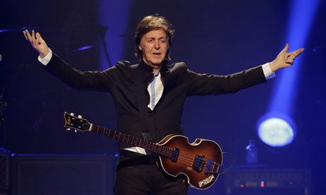 We can work it out … Paul McCartney performs in Orlando, US, on 18 May, during the first US concert of his Out There tour. Photograph: John Raoux/AP