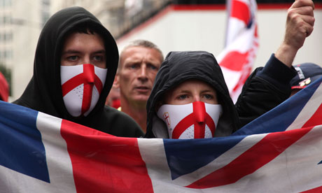 Members of the English Defence League during a march in London against Islamic fundamentalism. Photograph: Rex