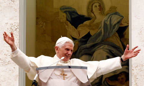 Pope Benedict XVI waves