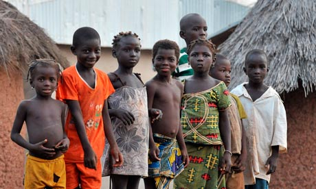 Children in the village of Tongon, Ivory Coast