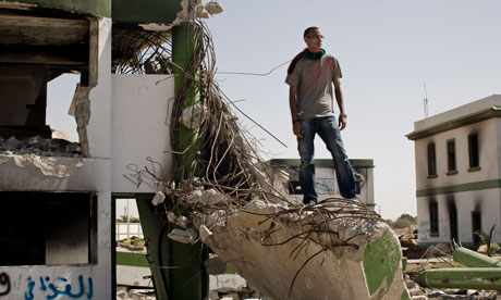 wreckage of Katiba military barracks in Benghazi, Libya