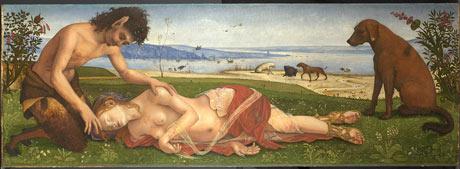 a satyr mourning over a nymph piero di cosimo, c.1495